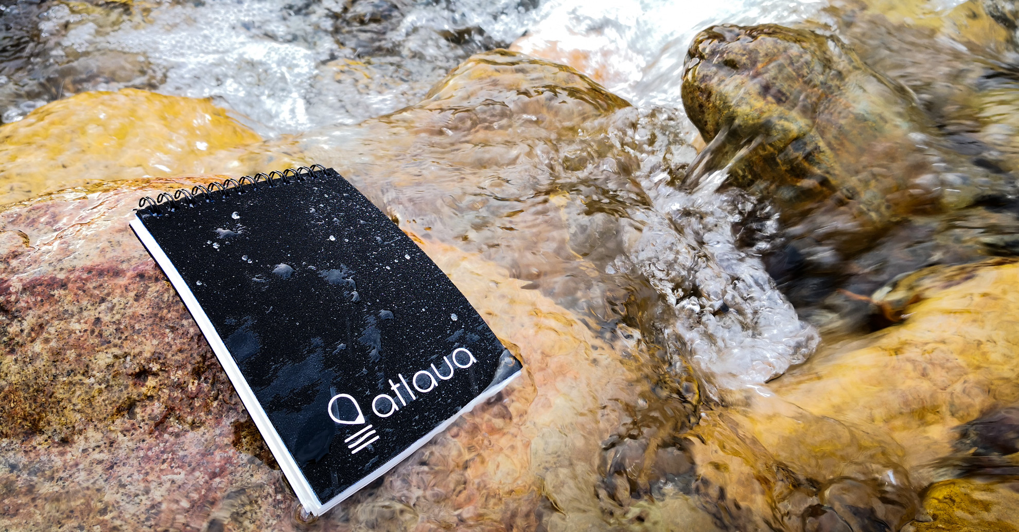 taccuino waterproof atlaua nero per canoying, trekking e diving