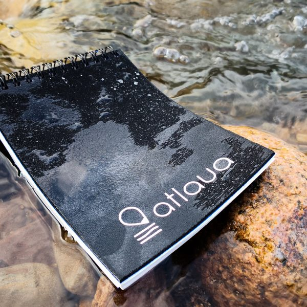 taccuino waterproof atlaua nero per canoying, trekking e diving